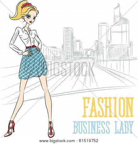 Vector  Fashion Business Girl In Defense