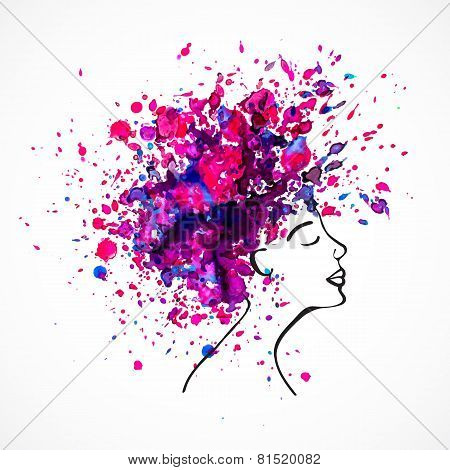 Watercolor silhouette of beautiful women