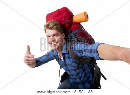Young Attractive Backpacker Tourist Taking Selfie Photo Carrying Backpack Ready For Travel