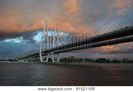 Cable Stayed Bridge At Stormy Day.