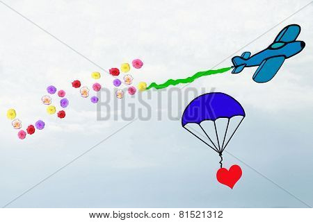 Love in the air, declaration of love by air traffic