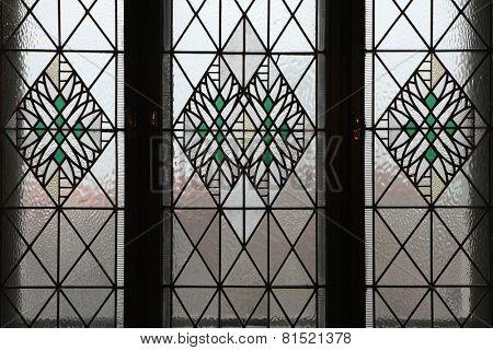 Art Nouveau stained glass window in Hradec Kralove, Czech Republic.