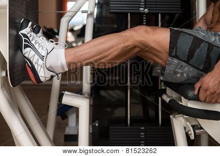 Bodybuilder Doing Legs Exercise