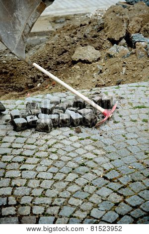 Pick Axe Near Granite Blocks