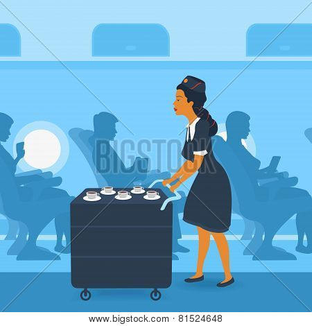 Stewardess on the Plane
