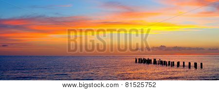 Sunset or sunrise landscape panorama of beautiful nature beach