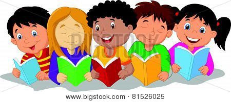 Happy children cartoon sitting on the floor while reading books