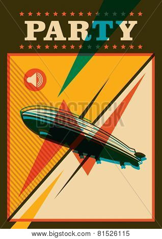 Party poster with zeppellin. Vector illustration.