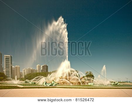 Chicago Illinois USA. Buckingham Fountain water stream