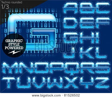 Techno style alphabet sensitive to the background. Techno rounded Set 1
