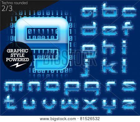 Techno style alphabet sensitive to the background. Techno rounded Set 2