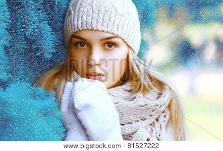 Christmas, Winter And People Concept - Portrait Pretty Girl In Hat Closeup Near The Christmas Tree B