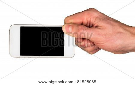 Hand Holding A White Smartphone With Black Screen Isolated On White
