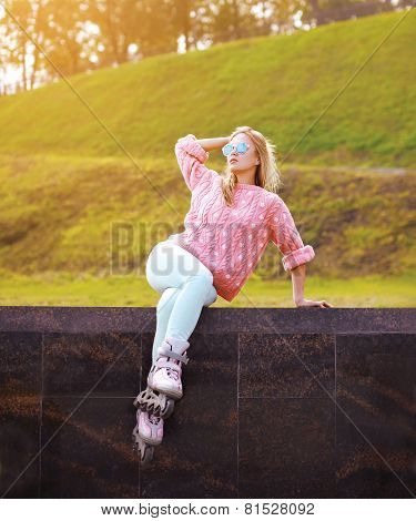 Pretty Stylish Woman In Sunglasses With Roller Skates In The City Park - Fashion, Extreme, Youth And