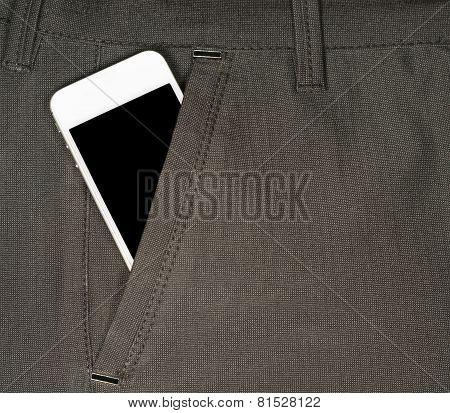 Smartphone With A Black Screen In The Pocket Of Pants