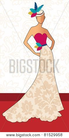 Red carpet woman  fashion Vertical  hat with feathers