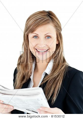 Joyful Businesswoman Reading A Newspaper
