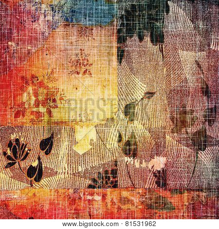 Art grunge vintage textured background. With different color patterns: red (orange); yellow (beige); blue; brown; purple (violet)