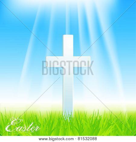 Easter Cross on Blue Sky background