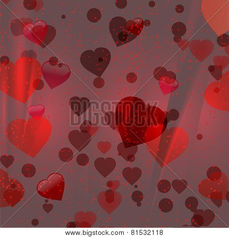 Red Hearts 3D Background