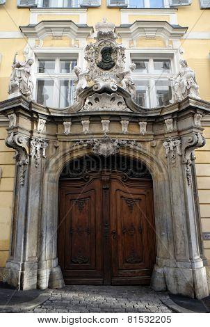 GRAZ, AUSTRIA - JANUARY 10, 2015: Historic entrance doorway in Graz, Styria, Austria on January 10, 2015.