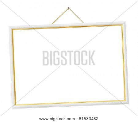 Retro frame on string isolated on white background