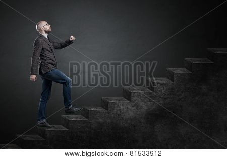 Male Businessman On Stair Or Steps Near A Wall Background, Metaphor To Success, Climb, Business,