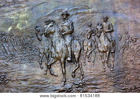 General Sherman Civil War Memorial Bronze Bas Relief Marching Through Georgia Pennsylvania Avenue Wa