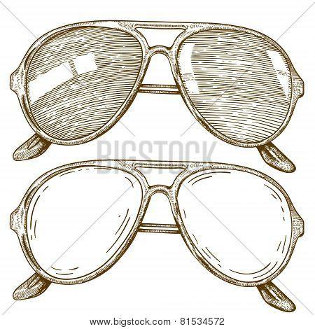 Engraving Illustration Of glasses
