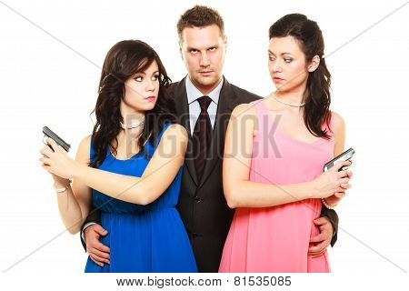 Jealousy Between Women Relationship In Triangle.