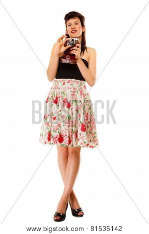 Teen Girl With Old Camera
