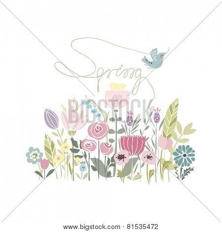 spring card with flowers and bird