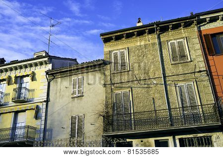 Varzi, Oltrepo Pavese, old houses facade. Color image