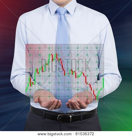 Businessman Holding Stock Chart