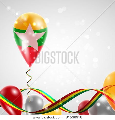 Flag of Myanmar on balloon