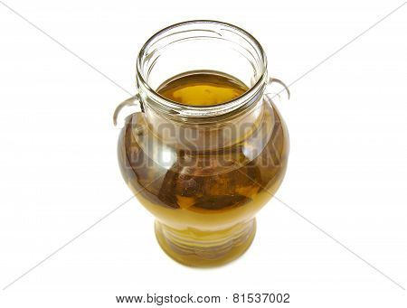 Extra virgin olive oil glass bottle on white background.