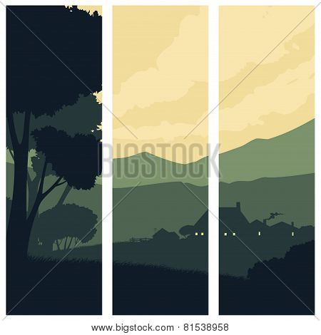 Vertical Banners With A Silhouette Rural Landscape