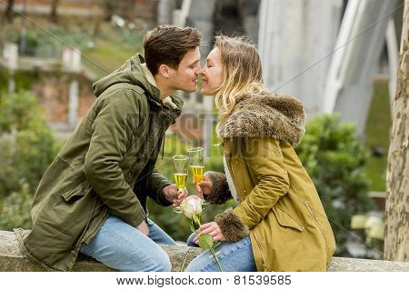 Couple In Love Kissing Tenderly On Street Celebrating Valentines Day Or Anniversary Cheering In Cham