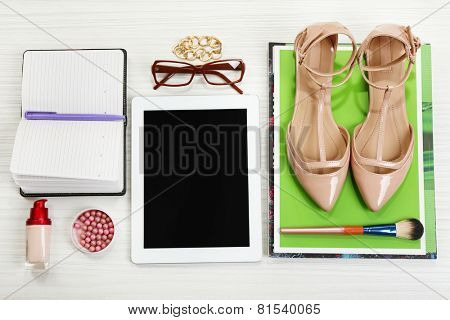 Fashion blogger concept. Still life of fashion creative space