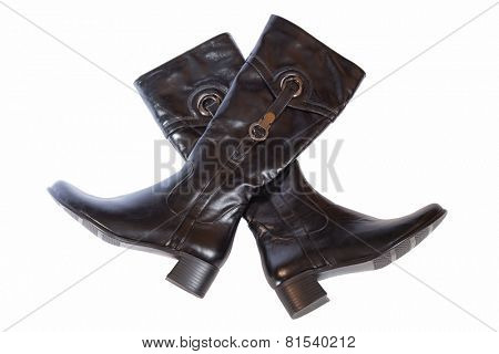 two leather boots on a white background