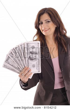 happy woman showing off big money