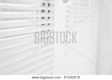 White window with opened blinds