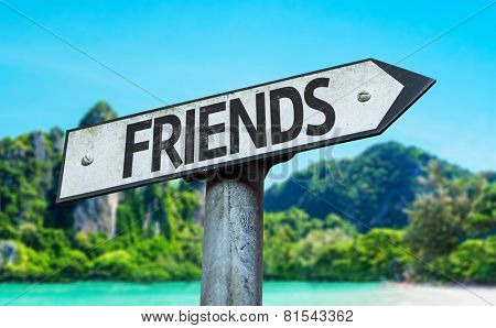 Friends sign with a beach on background