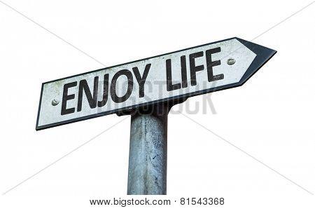 Enjoy Life sign isolated on white background