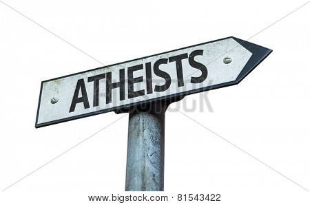 Atheists sign isolated on white background