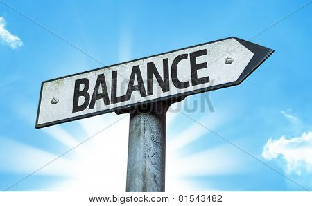 Balance sign with a beautiful day