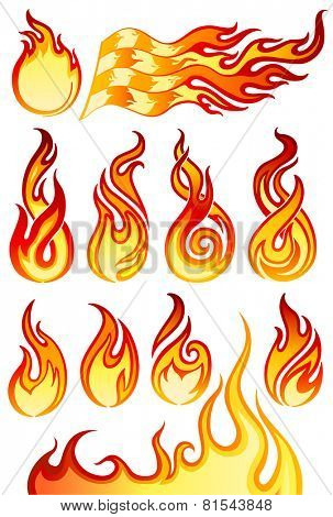 Fire flames icons collection in vector illustration (EPS10)