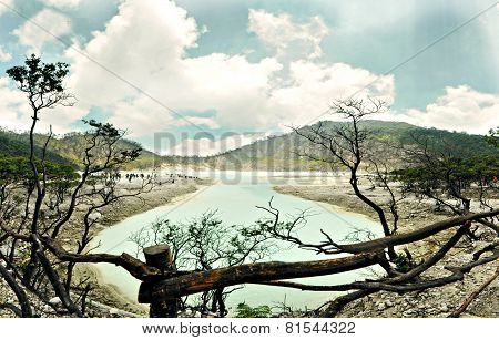 Kawah Putih Crater Or White Crater Of Ciwedey, Bandung, Indonesia And A Flock Of Touris