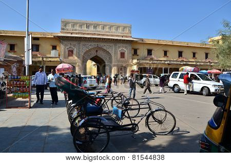 Aipur, India - December 29, 2014: People Visit The City Palace Complex
