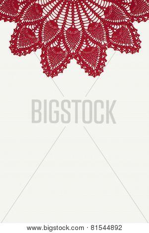 Red Doily Centered on White Background
